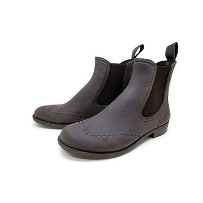 レディース レインブーツ おしゃれな ブラッシュ加工 サイゴア ブーツタイプ レインシューズ 長靴 ブラウン (39/24.0~24.5cm