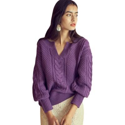 RUGOD韓国ファッションツイストニットVネックセーター女性長袖ベージュプルオーバー秋冬暖かい厚手のセータートップス2020 Purple