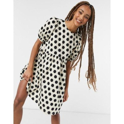 エイソス レディース ワンピース トップス ASOS DESIGN mini short puff sleeve mini dress in cream and black dots Cream/black spot