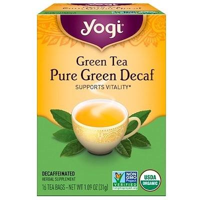 緑茶, カフェイン抜きの純粋な緑茶, 16ティーバッグ, 1.09オンス(31 g)