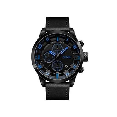 ファッションアウトドアスポーツクォーツ腕時計メンズ3dダイヤルRealレザー防水日付Militaryクロック1/ 10second chronog