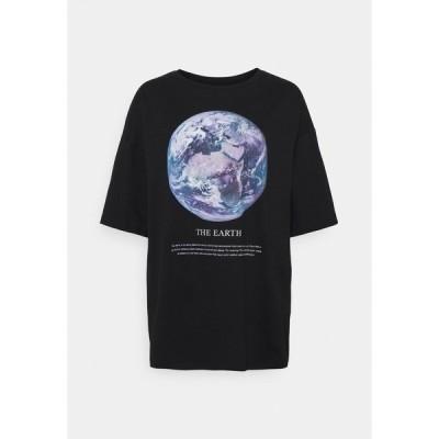エブンアンドオッド Tシャツ レディース トップス Print T-shirt - black