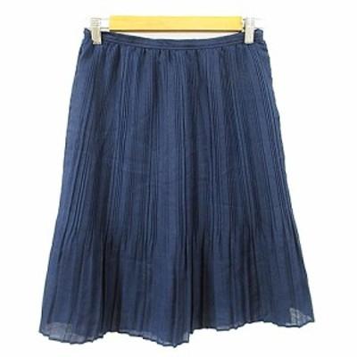 【中古】ビームスハート BEAMS HEART スカート プリーツ ひざ丈 1 紺 ネイビー /AAM37 レディース