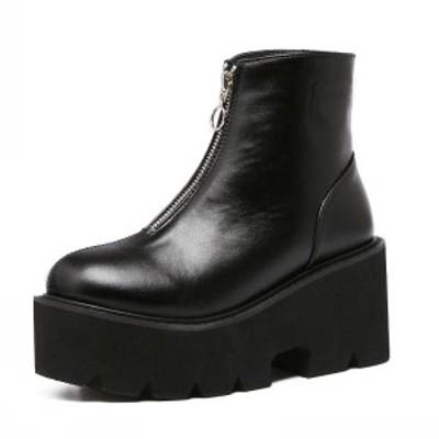 2019新作秋冬 レディース原宿系ショートブーツヒール7.5cm厚底 ブーツ話題の美脚ショートブーツ大きいサイズありTZ194