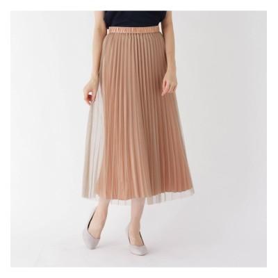 【スマート ピンク/smart pink】 【手洗い可】チュールサテンプリーツスカート