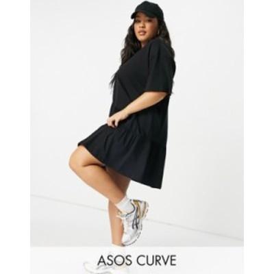 エイソス レディース ワンピース トップス ASOS DESIGN Curve oversized t-shirt dress with frill hem in black Black