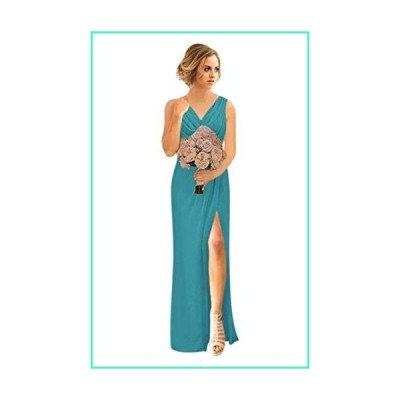 Andybridal Women's Plus Size A Line V Neck Pleated Silt Lace Up Long Chiffon Bridesmaid Wedding Party Dress with Sleeves Turquoise 17 Plus並行輸入