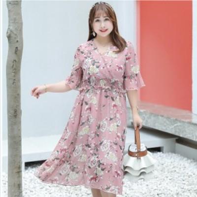 レディース 大きいサイズ 服 大きいサイズの服 レディース ぽっちゃり ワンピース シフォン 大きいサイズ ワンピ お花柄 フラワー ロング