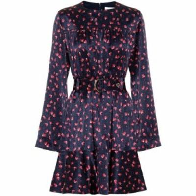クロエ Chloe レディース ワンピース ワンピース・ドレス Printed silk minidress Blue - Orange