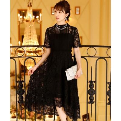 プールヴー PourVous フィッシュテールオールレース ロングスカート/結婚式ワンピース お呼ばれ・二次会・セレモニー大きいサイズ対応フォーマルパーティードレス (ブラック)