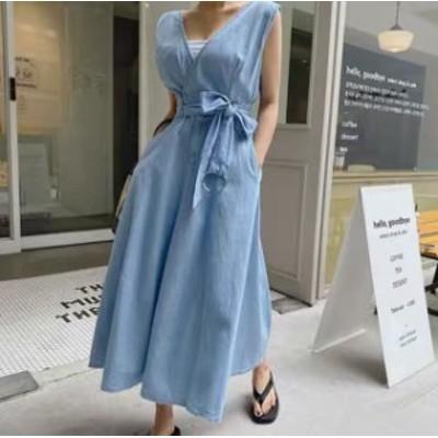 レディース ワンピース 春 夏 韓国 ファッション レディース ワンピース 夏 春 デニム 深Vネック バックコンシャス 背中見せ シンプル