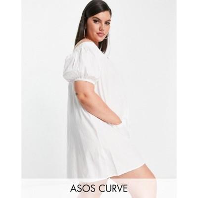 エイソス ASOS Curve レディース オールインワン ショート ASOS DESIGN curve off shoulder button through swing playsuit in white ホワイト