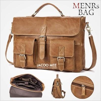 ビジネスバッグ メンズ バック ブリーフケース ビジネス 革 レザー 鞄 バッグ 大容量 A4対応 書類かばん 通勤 斜めがけ 2WAY仕様 新品 送料無料