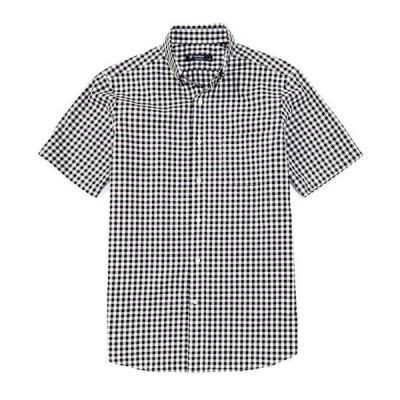 ダニエル クレミュ メンズ シャツ トップス Dobby Check Black Short-Sleeve Woven Shirt