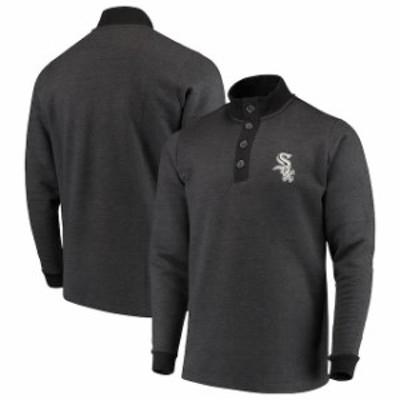 Antigua アンティグア スポーツ用品  Antigua Chicago White Sox Black Pivotal Button Pullover Sweatshirt