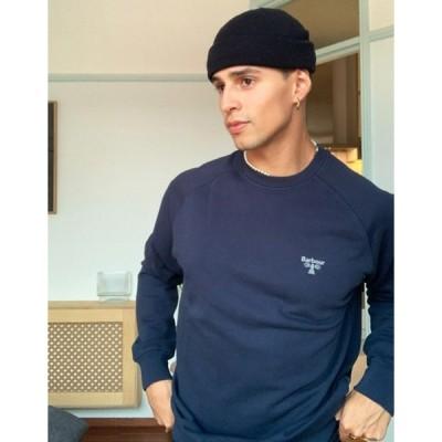 バーブァー メンズ シャツ トップス Barbour Beacon crew neck sweatshirt in navy