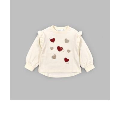 ラメ ハート パッチ 肩 フリル 長袖 Tシャツ (80~130cm)