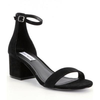 スティーブ マデン レディース サンダル シューズ Irenee Ankle Strap Suede Block Heel Dress Sandals Black