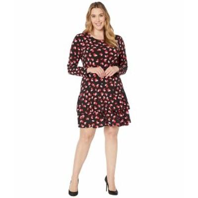 マイケルコース レディース ワンピース トップス Plus Size Petal Passion Flounce Dress Black Multi