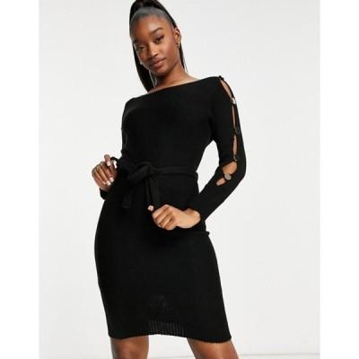 ナーナー レディース ワンピース トップス NaaNaa snap sleeve tie waist sweater dress in black