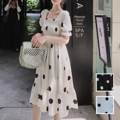 韓国 ファッション レディース ワンピース 春 夏 新作 カジュアル naloJ513  シアー ポルカドット バックリボン Aライン シンプル コーデ