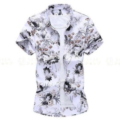 アロハシャツ メンズシャツ 夏 花柄 トップス ハワイアン 半袖シャツ 祭り ビーチ 大きいサイズ カジュアルシャツ