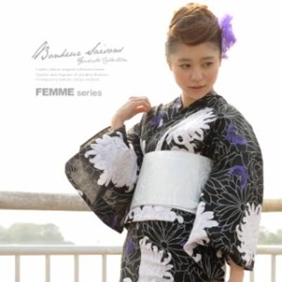 bonheur saisons ボヌールセゾン レディース 浴衣 帯 下駄 3点セット 菊 花