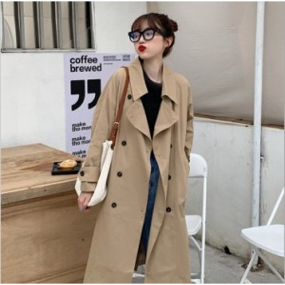 トレンチコート レディース 大きいサイズ アウター コート 薄手 ベーシック ベージュ ブラック 定番 羽織 ロング 丈長