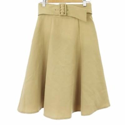 【中古】アプワイザーリッシェ Apuweiser-riche 18SS スカート フレア ペプラム ミモレ ロング 0 ベージュ レディース