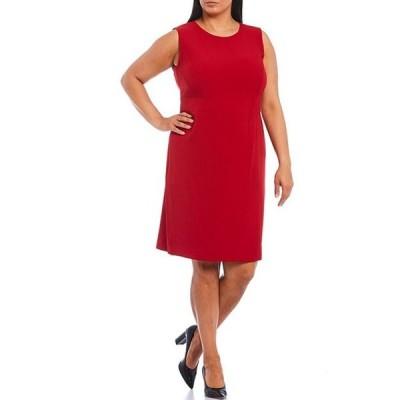 カスパール レディース ワンピース トップス Plus Size Stretch Crepe Sleeveless Banded Waist Sheath Dress