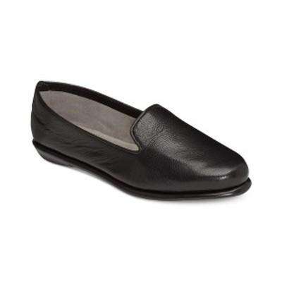 エアロソールズ レディース サンダル シューズ Betunia Smoking Flats Black Leather