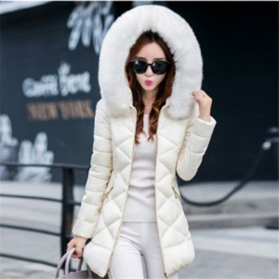レディース冬物 フード付きロングジャケット 綿ダウンジャケット 防風 ひざコート大きいサイズ 132#