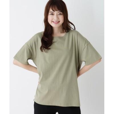 (SHOO・LA・RUE/シューラルー)【M-LL】バックツイストオープンTシャツ/レディース モスグリーン(024)