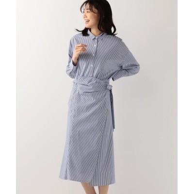 【ミューズ リファインド クローズ】 ラップスカート付シャツワンピース レディース ブルー M MEW'S REFINED CLOTHES
