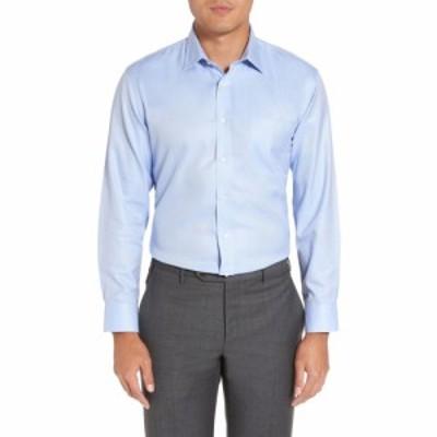 ノードストローム NORDSTROM MENS SHOP メンズ シャツ トップス Smartcare Trim Fit Herringbone Dress Shirt Blue