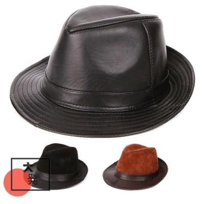 帽子 男女兼用 ポークパイハット本革帽子ファッション ハット hat 流行 快適 3色