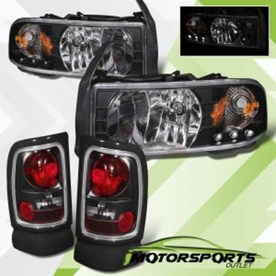 ヘッドライト 1994-2001 Dodge Ram 1500 2500 3500ブラックテールライト付きブラックLEDヘッドライ