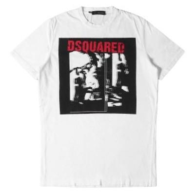 DSQUARED2 ディースクエアード Tシャツ ダメージ 加工 レディーフェイス Tシャツ ホワイト M 【メンズ】【中古】【K2746】