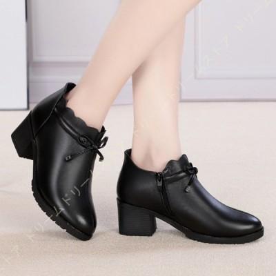 ショートブーツ レディース ブーツ 本革 ブーティ 美脚 歩きやすい 6センチ 太ヒール 安定感 大きいサイズ ブーティー リボン付き かわいい 婦人靴 幅広