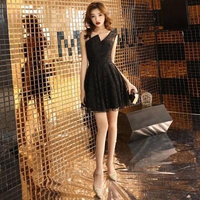 韓国 パーティドレス 黒 ミニドレス フレアスカート リトルブラックドレス レース 結婚式 お呼ばれドレス 20代 大きいサイズ