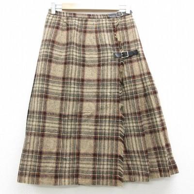 古着 ラップ プリーツ スカート 80s ウール 茶 ブラウン チェック 【spe】 20dec07 中古