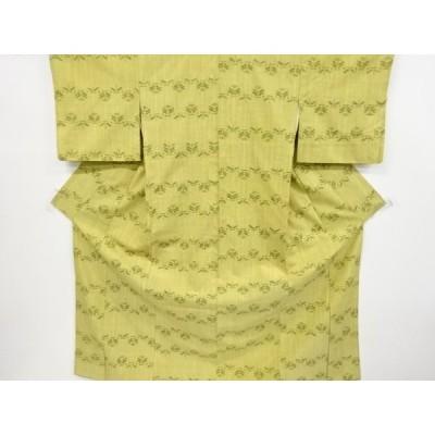 リサイクル 抽象草花模様織り出し手織り真綿紬着物