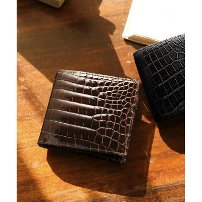 【サンキョウショウカイ】 クロコダイル 無双 折り財布 日本製 小銭入れ付き 一枚革 メンズ ダーク ブラウン FREE sankyoshokai