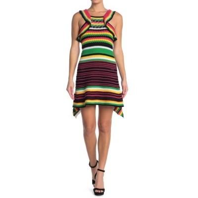 エム ミッソーニ レディース ワンピース トップス Stripe Print Asymmetrical Knit Tank Dress BLACK