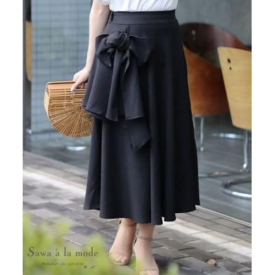 【サワアラモード】 大きなリボンの大人可愛いフレアスカート レディース ブラック F Sawa a la mode