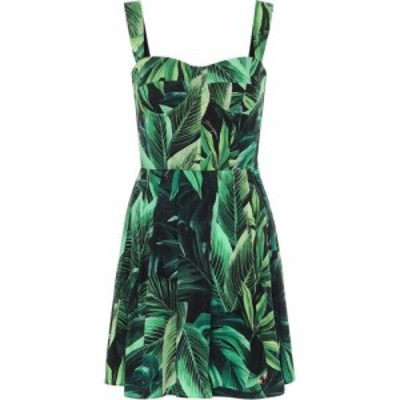 ドルチェandガッバーナ Dolce and Gabbana レディース ワンピース ワンピース・ドレス Printed cotton minidress Fogliame Fdo/Nero