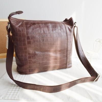 良質牛革 ショルダーバッグ クロコ型押し 本革 日本製 チョコ No.2587 レディースバッグ (鞄 かばん バッグ) 女性かばん