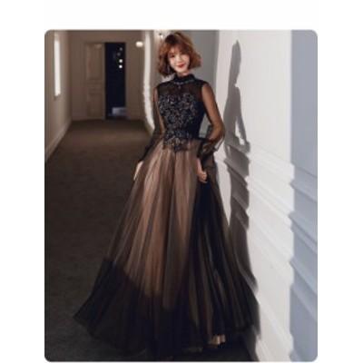 最新作 復古調 黒 ロングドレス パーティードレス  舞台ドレス ワンピース 長袖 立て襟 チュール 結婚式 二次会 発表会 演奏会 撮影 D160