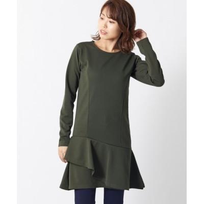 【大きいサイズ】 裾フリルデザインリップルカットソーチュニック(オトナスマイル) plus size tops,