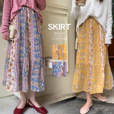 花柄スカート レディース ロング丈 ケシプリーツスカート プリーツスカート 花柄スカート パッチワーク柄